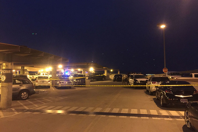 The parking garage was closed after a shooting at McCarran International Airport in Las Vegas, Monday, Sept. 19, 2016. Police said two people were shot in the parking garage and it was related to  ...