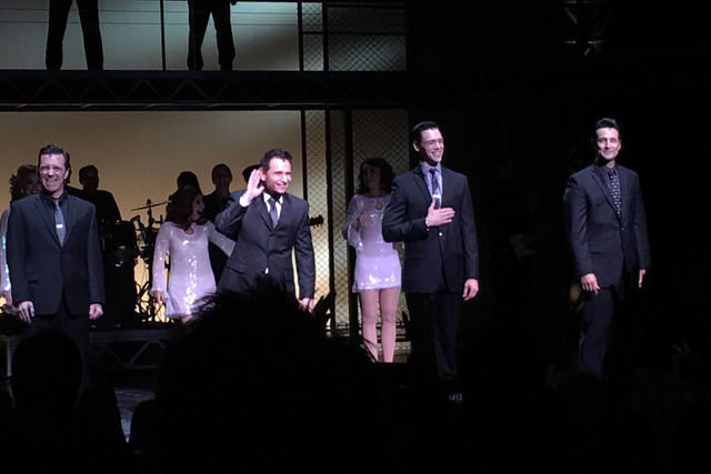 "Members of the ""Jersey Boys"" cast, from left, John Gardiner, Travis Cloer, Jason Kappus and Jason Martinez hear the cheers Sunday night during the musical's finale at Paris Las Vegas. (John Katsil ..."