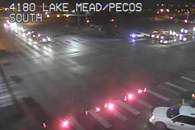 Traffic is seen at Lake Mead Boulevard and Pecos Road, near where a pedestrian was struck and killed on the 3400 block of East Lake Mead Boulevard. (NDOT)