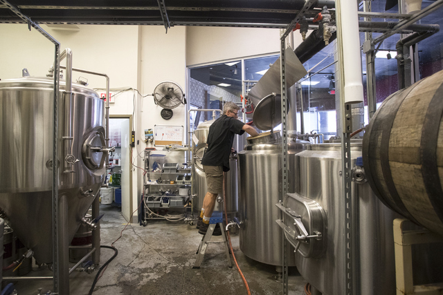 Judson Togerson, brewer, makes beer at Banger Brewing in Las Vegas on Tuesday, Sept. 13, 2016. Loren Townsley/Las Vegas Review-Journal Follow @lorentownsley