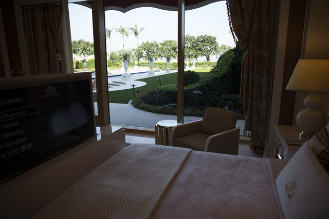 A bedroom inside one of five Garden Villas at the Wynn Palace is seen during a tour on Monday, Sept. 12, 2016, in Macau. Erik Verduzco/Las Vegas Review-Journal Follow @Erik_Verduzco