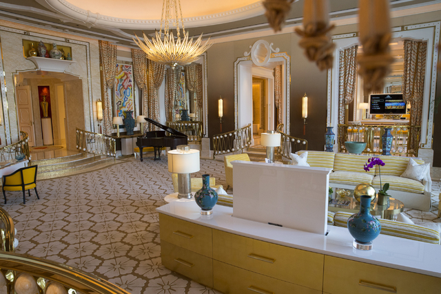 The living room inside one of five Garden Villas at the Wynn Palace is seen during a tour on Monday, Sept. 12, 2016, in Macau. (Erik Verduzco/Las Vegas Review-Journal) Follow @Erik_Verduzco