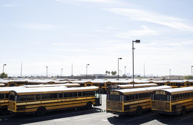 School buses at Cheyenne Bus Yard in North Las Vegas on Wednesday, Oct. 26, 2016. (Loren Townsley/Las Vegas Review-Journal Follow @lorentownsley)
