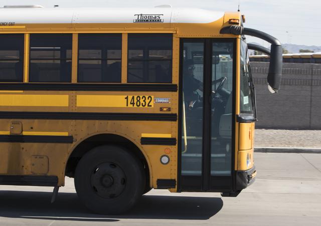 School bus at Cheyenne Bus Yard in North Las Vegas on Wednesday, Oct. 26, 2016. (Loren Townsley/Las Vegas Review-Journal Follow @lorentownsley)