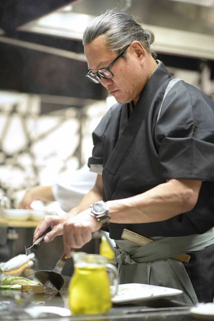 Masaharu Morimoto cooks during the grand opening of his first Las Vegas restaurant, Morimoto, at MGM Grand on Friday, Oct. 21, 2016. (Sam Morris/Las Vegas News Bureau)