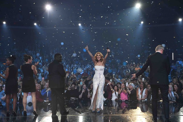 Celine Dion celebrates her 1,000th show at The Colosseum in Caesars Palace on Saturday, Oct. 8, 2016, in Las Vegas. (Denise Truscello/WireImage)
