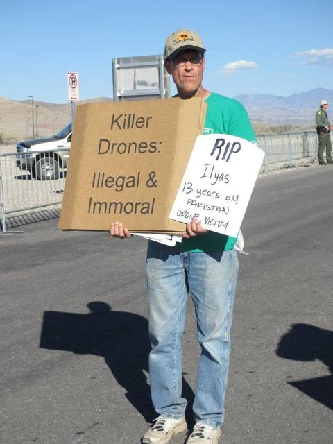 A Catholic political group opposed to drone warfare protested Sunday near Creech Air Force Base. (Robert Majors)