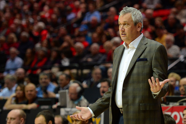 Jan 6, 2015; San Diego, CA, USA; New Mexico Lobos head coach Craig Neal reacts during the first half against the San Diego State Aztecs at Viejas Arena at Aztec Bowl. (Jake Roth/USA Today Sports)