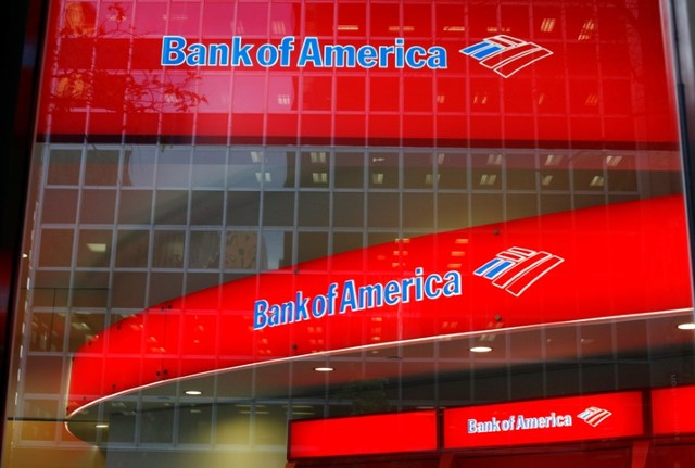 Reflections are seen in the windows of a Bank of America branch in New York, U.S. on October 8, 2008. (Lucas Jackson/Reuters)