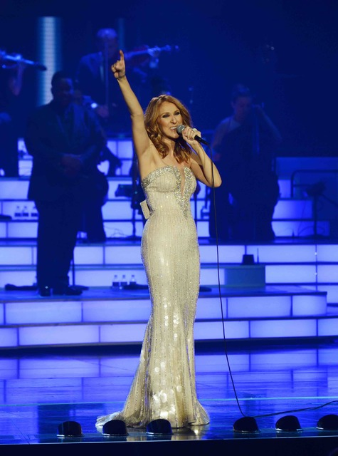 Celine Dion performs her 1,000th show at The Colosseum in Caesars Palace on Saturday, Oct. 8, 2016, in Las Vegas. (Denise Truscello/WireImage)