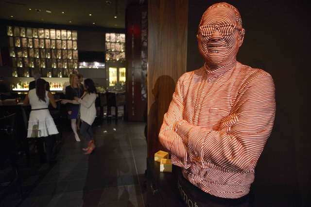 A fabric bust of Masaharu Morimoto graces the entrance of his first Las Vegas restaurant, Morimoto, at MGM Grand on Friday, Oct. 21, 2016. (Sam Morris/Las Vegas News Bureau)