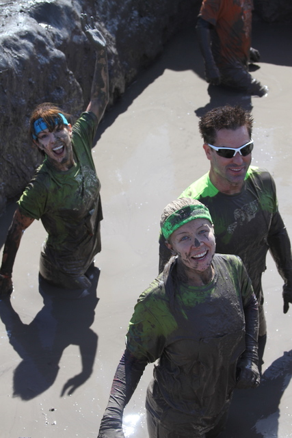 Claudine Grant, left, takes part in World's Toughest Mudder at Lake Las Vegas.