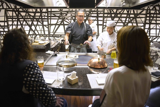 Masaharu Morimoto cooks for guests during the grand opening of his first Las Vegas restaurant, Morimoto, at MGM Grand on Friday, Oct. 21, 2016. (Sam Morris/Las Vegas News Bureau)