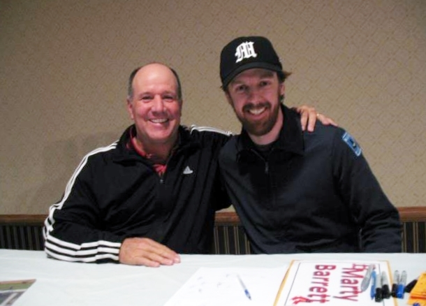 Former Boston Red Sox and Rancho High baseball star Marty Barrett, left, poses with longtime admirer Casey Brough at a baseball card show. It was has been 30 years since Barrett collected 24 hits  ...