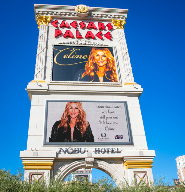 Celine Dion's 1,000th show is commemorated outside The Colosseum at Caesars Palace on Saturday, Oct. 8, 2016, in Las Vegas. (Erik Kabik)