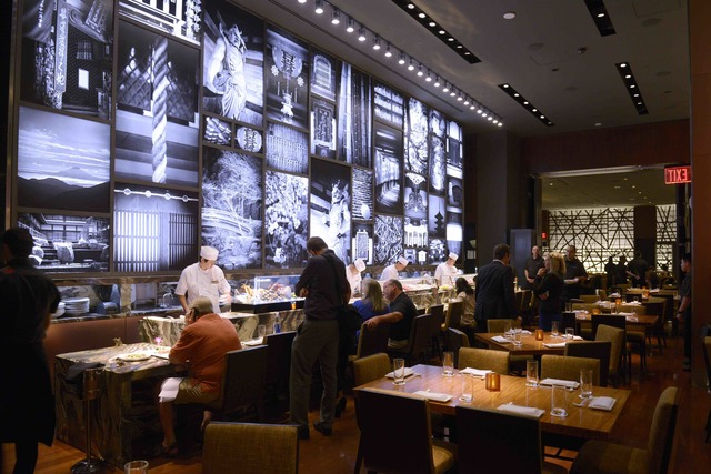 The sushi bar is seen during the grand opening of Masaharu Morimoto's first Las Vegas restaurant, Morimoto, at MGM Grand on Friday, Oct. 21, 2016. (Sam Morris/Las Vegas News Bureau)