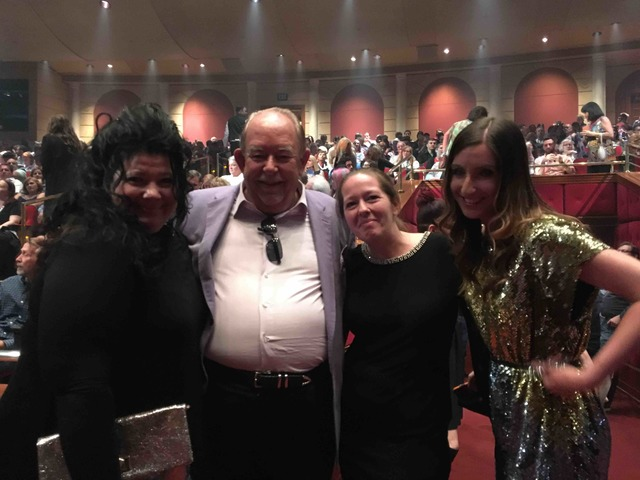 Robin Leach stands with three of Celine Dion's biggest fans after Dion performed her 1,000th show at The Colosseum in Caesars Palace on Saturday, Oct. 8, 2016, in Las Vegas. (Courtesy)
