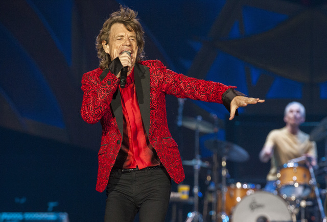 Mick Jagger of the Rolling Stones was chatty during a private concert on Monday night for 1,200 truckers in Las Vegas. (Barry Brecheisen/Invision/AP)