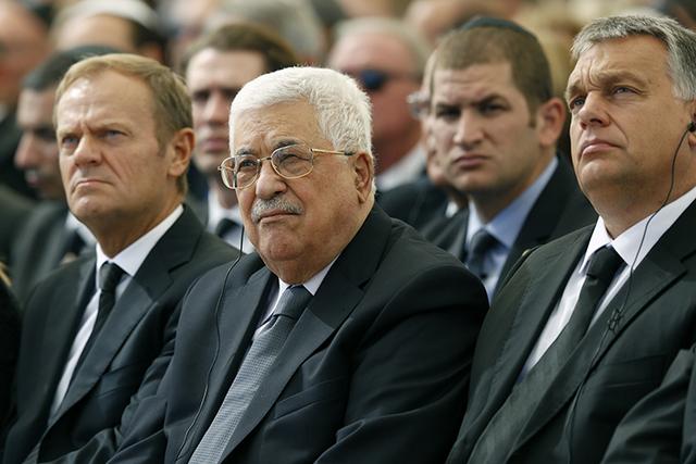 Palestinian President Mahmoud Abbas, center, attends last week's funeral of former Israeli President Shimon Peres in Jerusalem. (Abir Sultan/Pool via AP)