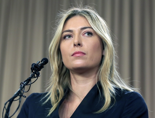 Tennis star Maria Sharapova speaks about her failed drug test at the Australia Open during a news conference in Los Angeles, March 7, 2016. The highest court in sports has cut Sharapova's two-year ...
