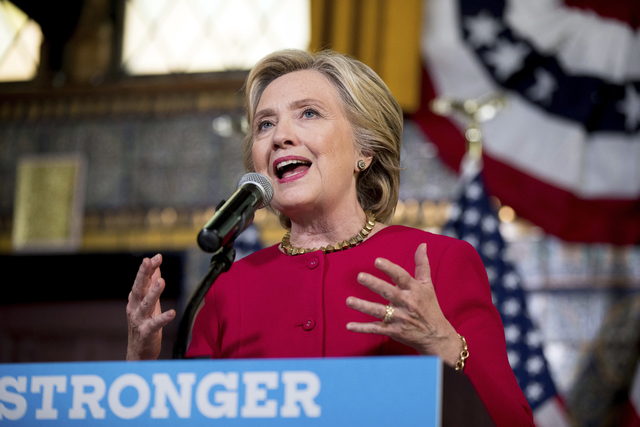 In this Oct. 4, 2016 file photo, Democratic presidential candidate Hillary Clinton speaks in Harrisburg, Pa. (Andrew Harnik, AP)