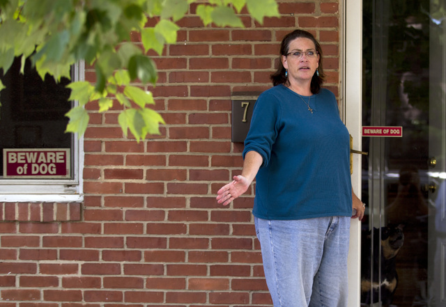 Debbie, the wife of Harold Thomas Martin III, talks to reporters outside of her home in Glen Burnie, Maryland, Wednesday, Oct. 5, 2016. Harold Martin, a federal government contractor, is accused o ...