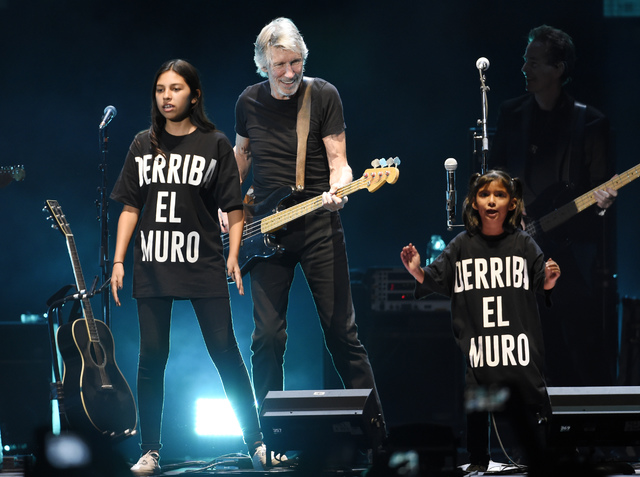 """Roger Waters is joined onstage by children as he performs the song """"Another Brick in the Wall"""" during his closing performance on day 3 of the 2016 Desert Trip music festival at E ..."""