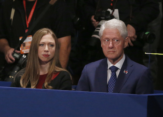 Chelsea Clinton, daughter of Hillary Clinton and former President Bill Clinton watch during the second presidential debate sbetween Republican presidential nominee Donald Trump and Democratic pres ...