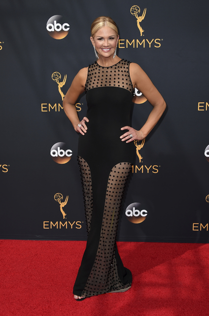 "FILE - In this Sunday, Sept. 18, 2016, file photo, Nancy O'Dell arrives at the 68th Primetime Emmy Awards at the Microsoft Theater in Los Angeles. O'Dell of ""Entertainment Tonight&quo ..."