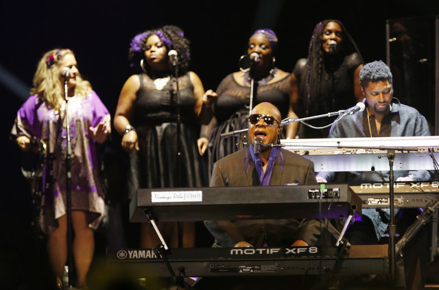 Stevie Wonder performs Thursday, Oct. 13, 2016, in St. Paul, Minn., during a tribute concert honoring the late musician Prince who died in April.  (Jim Mone/AP)