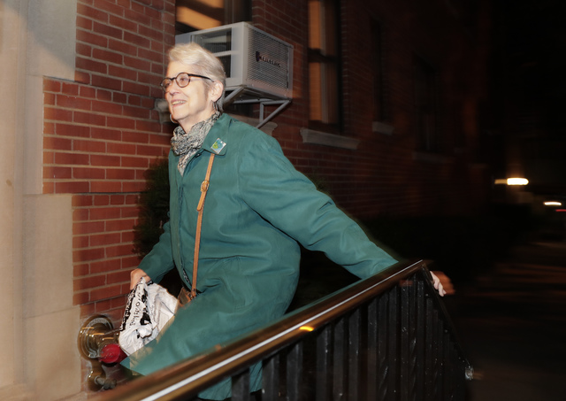 Jessica Leeds arrives at her apartment building, Wednesday, Oct. 12, 2016, in New York. Leeds was one of two women who told the New York Times that Republican presidential candidate Donald Trump t ...