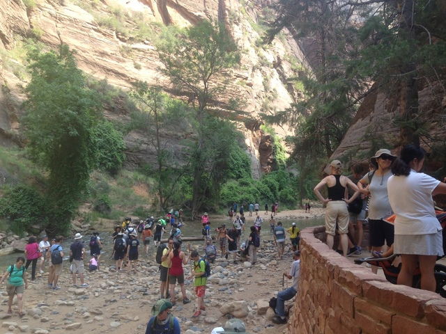A crowd waits to get on a shuttle at Zion National Park on July 25, 2015. The National Park Service is now developing a visitor use management plan for the park in response to an overwhelming surg ...