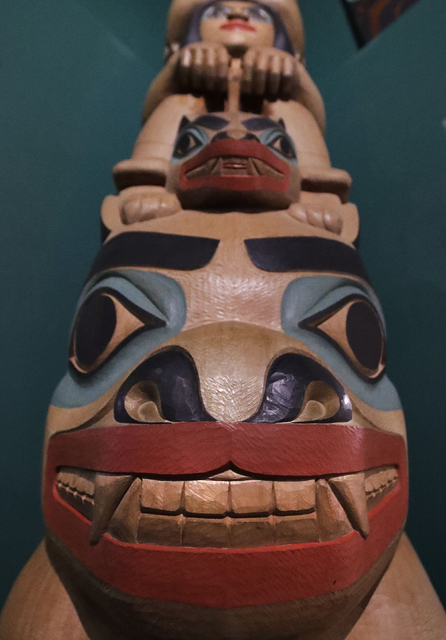 A totem pole is displayed as part of Hall of the North American Indian exhibit, at the Peabody Museum of Archaeology & Ethnology at Harvard University in Cambridge, Massachusetts. (Charles Kru ...