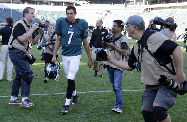 FILE - In this Oct. 11, 2015, file photo, Philadelphia Eagles' Sam Bradford walks off the field after an NFL football game against the New Orleans Saints in Philadelphia. The Minnesota Vikings cou ...