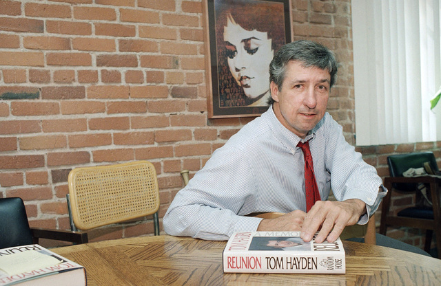 """FILE - In this June 6, 1988 file photo, Tom Hayden talks about his new book, """"Reunion,"""" during a interview at his office in Santa Monica, Calif. Hayden, the famed 1960s anti-war activist who moved ..."""