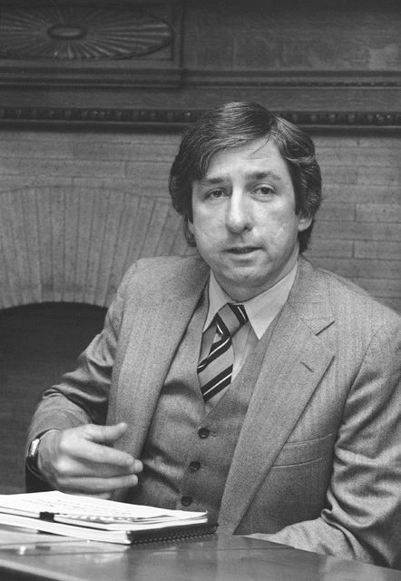 FILE - In this Jan. 17, 1980 file photo, anti-nuclear activist Tom Hayden as he meets with the Energy Development Caucus, a group of lawmakers who share Hayden's enthusiasm for alternative energy, ...