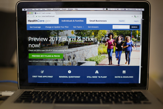 The Obama administration is confirming that premiums will go up sharply next year for health insurance sold to millions of consumers through HealthCare.gov.  (Pablo Martinez Monsivais/AP)