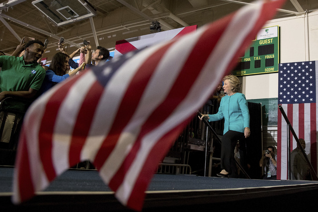 Democratic presidential candidate Hillary Clinton arrives at a rally at Palm Beach State College in Lake Worth, Fla., Wednesday, Oct. 26, 2016. (Andrew Harnik/AP)