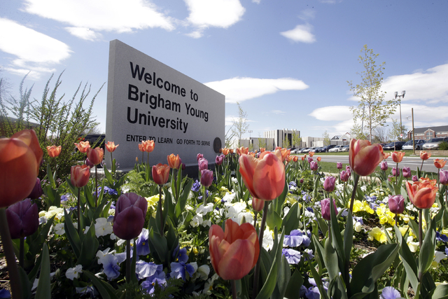 A welcome sign to Brigham Young University in Provo, Utah. (Rick Bowmer/AP)