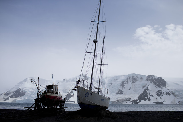 FILE - In this Jan. 27, 2015 file photo, boats sit on the beach at Bahia Almirantazgo, in Antarctica. The countries that decide the fate of Antarctica agreed on Friday to create the world's larges ...