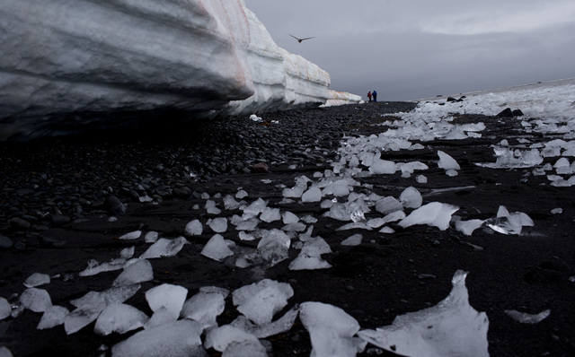 In this Jan. 26, 2015 photo, pieces of thawing ice are scattered along the beachshore at Punta Hanna, Livingston Island, in the Antarctica. The countries that decide the fate of Antarctica agreed  ...