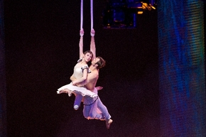 "Erica Linz plays Mia and Igor Zaripov plays the aerialist in ""Cirque du Soleil: Worlds Away. (Las Vegas Review-Journal File)"