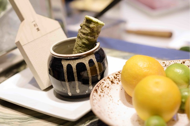 Wasabi rhizome waits to be ground during the grand opening of Masaharu Morimoto's first Las Vegas restaurant, Morimoto, at MGM Grand on Friday, Oct. 21, 2016. (Sam Morris/Las Vegas News Bureau)