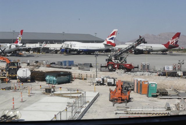 A line-up of international carriers are seen on Friday, Sept. 9, 2016, during the ongoing construction at McCarranճ Terminal D satellite concourse, including seven new airline gates for inte ...