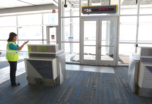 Clark County Director of Aviation Rosemary Vassiliadis speaks about the ongoing construction at McCarran International Airport's Terminal D satellite concourse on Friday, Sept. 9, 2016. Bizuayehu  ...