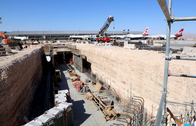 Construction of a half-mile tunnel from Terminal D satellite concourse leading to US Customs inspection area is seen Friday, Sept. 9, 2016, at McCarran International Airport. Bizuayehu Tesfaye/Las ...