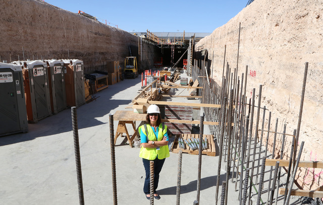 Clark County Director of Aviation Rosemary Vassiliadis poses for a photo inside a half-mile under-construction tunnel leading to US Customs inspection area at McCarran International on Friday, Sep ...