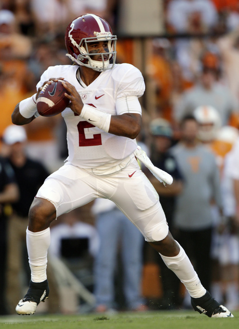 Alabama quarterback Jalen Hurts (2) looks for a receiver during the first half of an NCAA college football game against Tennessee, Saturday, Oct. 15, 2016, in Knoxville, Tenn. (AP Photo/Wade Payne)