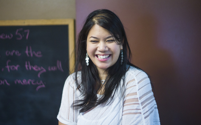 Alexandria Le, executive artistic director of Notes With a Purpose, joins student musicians at the Las Vegas Rescue Mission at weekly Wednesday performances for Las Vegas Rescue Mission diners. Ch ...