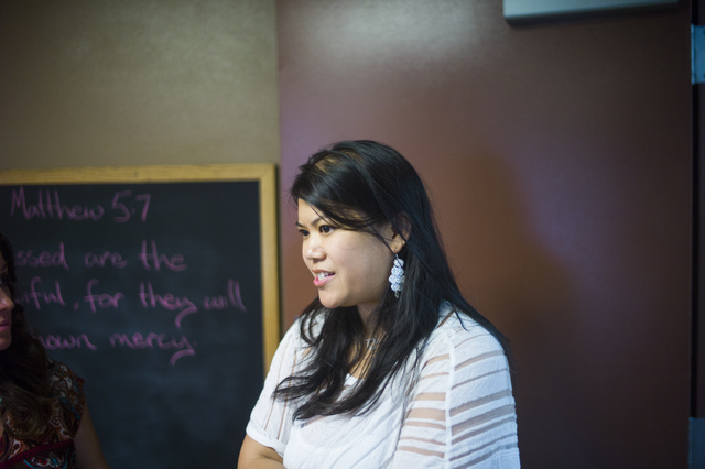 Alexandria Le smiles while talking about her program, Notes With Purpose, which allows student musicians to perform in front of diners at the Las Vegas Rescue Mission in downtown Las Vegas on Wedn ...